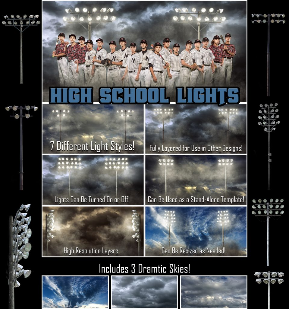 High School Lights - Photoshop Template | Digital Background